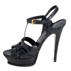 Saint Laurent Black Croc Embossed Leather Tribute Platform Sandals Size 38