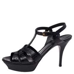 Saint Laurent Black Croc Embossed Leather Tribute Platform Sandals Size 39