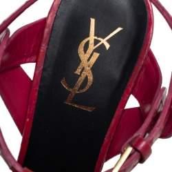 Saint Laurent Fuchsia Croc Embossed Leather Tribute Platform Sandals Size 39