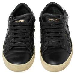 Saint Laurent Black Leather and Glitter Court Classic Star Low Top Sneakers Size 38.5