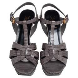 Saint Laurent Grey Lizard Embossed Leather Tribute Platform Sandals Size 38