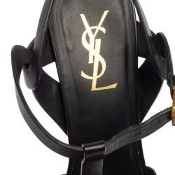 Saint Laurent Black Leather Tribute Ankle Strap Sandals Size 39