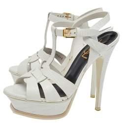 Saint Laurent White Croc Embossed Leather Tribute Platform Ankle Strap Sandals Size 35