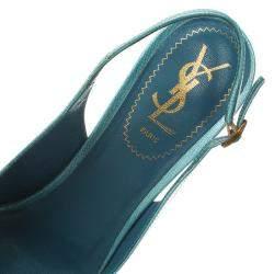 Saint Laurent Paris Light Blue Patent Tribtoo Slingback Sandals Size 38.5