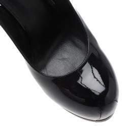 Saint Laurent Paris Black Patent Tribtoo Slingback Platform Sandals Size 40.5