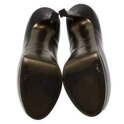 Saint Laurent Paris Black Textured Leather Tribtoo Pumps Size 38.5
