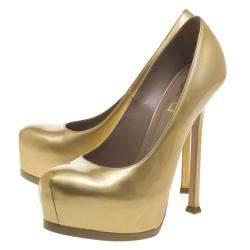 Saint Laurent Paris Gold Patent Leather Tribtoo Platform Pumps Size 38