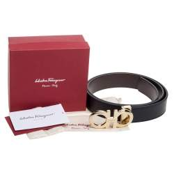 Salvatore Ferragamo Black Leather Hickory Buckle Belt 110CM