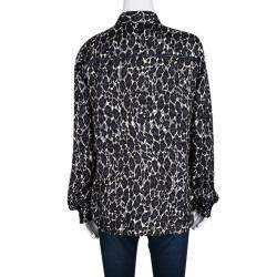 Salvatore Ferragamo Leopard Printed Silk Ladder Lace Insert Long Sleeve Shirt S