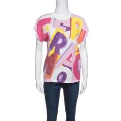 Salvatore Ferragamo Multicolor Printed Sequined Embroidered T-Shirt S