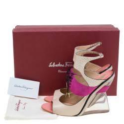 Salvatore Ferragamo Multicolor Leather, Suede and Python Lucite F Wedge Sandals Size 38