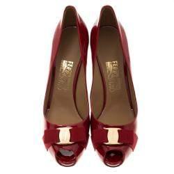 Salvatore Ferragamo Red Patent Leather Plum Peep Toe Platform Pumps Size 41