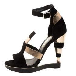 Salvatore Ferragamo Black/Gold Suede/Leather and Python Lexus Platform Sandals Size 39