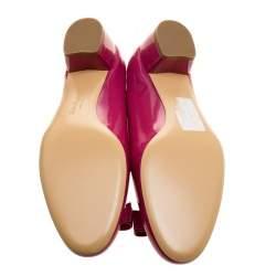 Salvatore Ferragamo Pink Patent Leather Vara Bow Block Heel Pumps Size 40.5