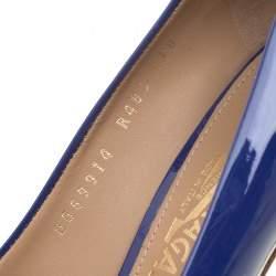 Salvatore Ferragamo Blue Patent Leather Plum Bow Detail Peep Toe Pumps Size 40.5