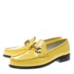Salvatore Ferragamo Women Yellow Patent Leather Mason Gancio Bit Loafers Size 38.5
