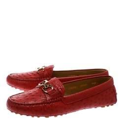 Salvatore Ferragamo Red Ostrich Leather Saba Loafers Size 40