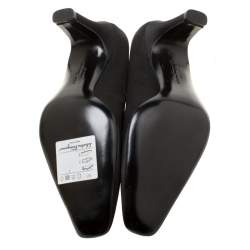 Salvatore Ferragamo Black Satin Square Toe Pumps Size 35