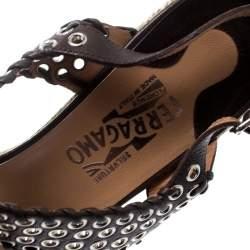 Salvatore Ferragamo Brown Leather Eyelet Detail Espadrille Wedge Ankle Strap Sandals Size 40.5