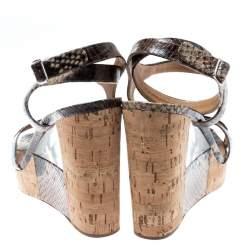 Salvatore Ferragamo Multicolor Python Embossed Leather Wedge Sandals Size 40