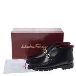 Salvatore Ferragamo Black Leather David Bit Loafer Boots Size 38.5