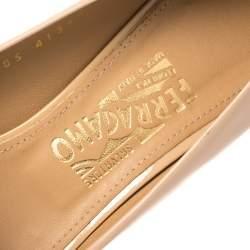 Salvatore Ferragamo Beige Patent Leather Sissi Bow Peep Toe Wedge Pumps Size 40.5