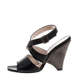 Salvatore Ferragamo Black Leather Criss Cross Ankle Strap Sandals Size 38.5