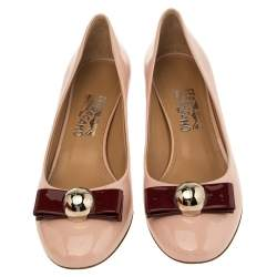 Salvatore Ferragamo Pink Patent Leather Fiammetta Bow Pumps Size 40