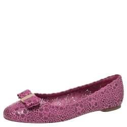 Salvatore Ferragamo Purple Leather Varina Laser Cut Ballet Flats Size 40.5