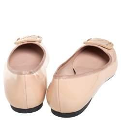Salvatore Ferragamo Beige Leather Slip On Ballet Flats Size 39