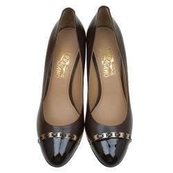 Salvatore Ferragamo Chocolate Brown Leather Nana Cap Toe Chain Detail  Wedge Pumps Size 40.5