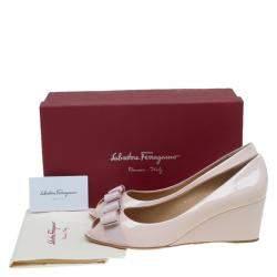 Salvatore Ferragamo Blush Pink Patent Sissi Peep Toe  Wedge Pumps Size 41