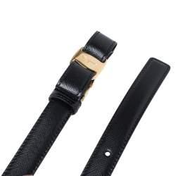 حزام سالفاتوري فيراغامو رفيع مزين فيونكة فاراجلد أسود 90 سم