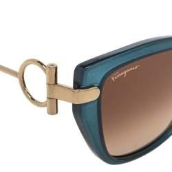 Salvatore Ferragamo Gold Tone/Brown Gradient SF928S Cat-Eye Sunglasses