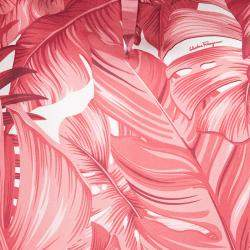 Salvatore Ferragamo Red Leaf Printed Silk Long Sleeve Blouse M