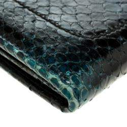 Salvatore Ferragamo Dark Blue Python Mandorla Wallet