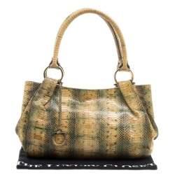 Salvatore Ferragamo Yellow Python Shoulder Bag