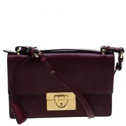 Salvatore Ferragamo Burgundy Leather Aileen Gancio Shoulder bag
