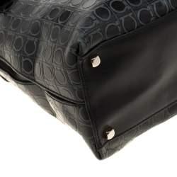 Salvatore Ferragamo Black Signature Embossed Leather Gancini Satchel