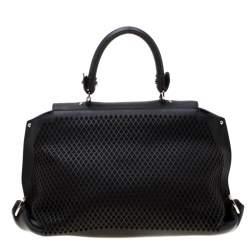 Salvatore Ferragamo Black Lasercut Leather Medium Sofia Satchel