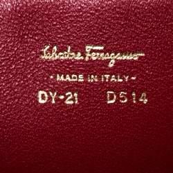 Salvatore Ferragamo Burgundy Leather Gancio Lock Shoulder Bag