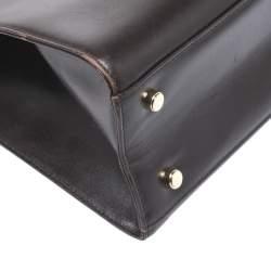 Salvatore Ferragamo Dark Brown Leather Flap Tote