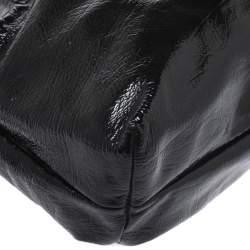 Salvatore Ferragamo Black Patent Leather Perforated Logo Tote