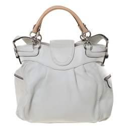 Salvatore Ferragamo White/Beige Leather Marisa Satchel