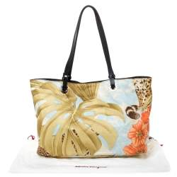 Salvatore Ferragamo Multicolor Floral Print Satin and Leather Tote