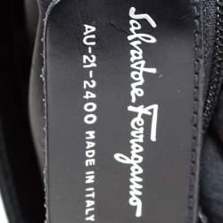 Salvatore Ferragamo Black Canvas and Leather Baguette Bag