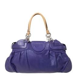 Salvatore Ferragamo Purple/Beige Leather Marissa Satchel
