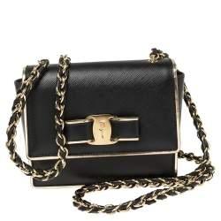 Salvatore Ferragamo Black Leather Mini Vara Shoulder Bag