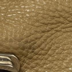 Salvatore Ferragamo Olive Green Leather Sofia Top Handle Bag