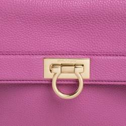 Salvatore Ferragamo Pink Leather Small Sofia Top Handle Bag